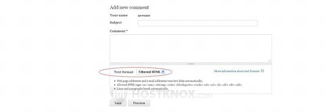 Selecting a Text Format When Submitting Comments