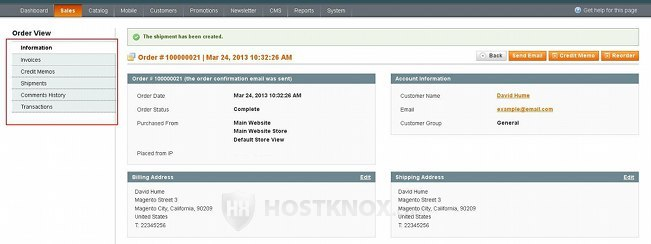 Order Information Page-Viewing Invoices, Credit Memos, Shipments, Comments History, Transactions