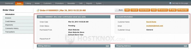 Order Information Page-Order ID and Account Information Blocks