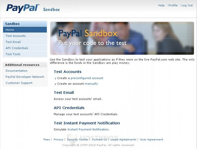 PayPal Sandbox Account Home Page