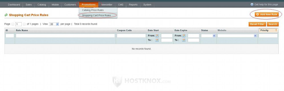 HostKnox :: Magento Shopping Cart Price Rules and Promotions Tutorial