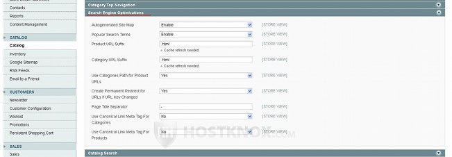 System Configuration Catalog Settings-Search Engine Optimizations Panel