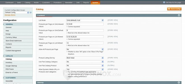 System Configuration Catalog Settings-Frontend Panel