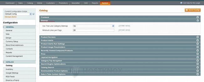 System Configuration Catalog Settings-Sitemap Panel