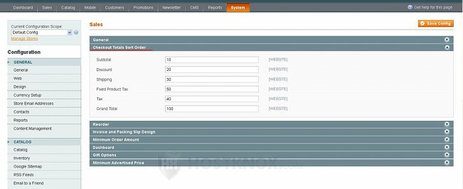 System Configuration Sales Settings-Checkout Totals Sort Order Panel