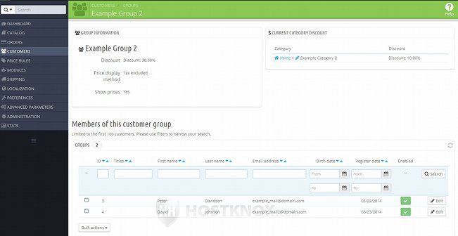 Page with Customer Group Information