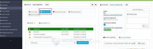 View Invoice Button on Order Details Page