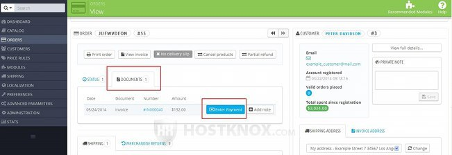 Order Details Page-Button for Entering the Payment Information in the Invoice