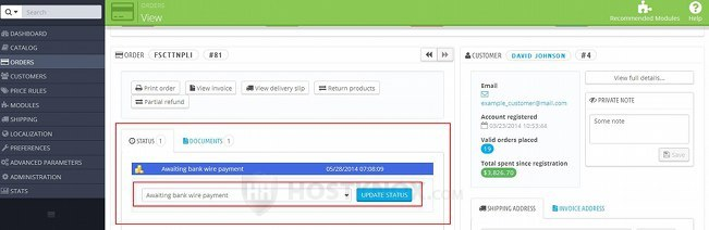 Order Details Page in the Admin Panel-Changing the Status of an Order
