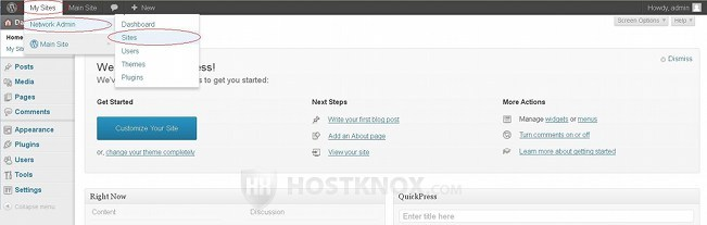 Network Admin Panel-Accessing the Sites Section